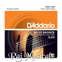 DAddario Acoustic Guitar Strings 80/20 Bronze .010-.047 Set EJ10
